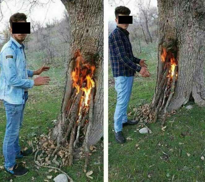 زشت ترین عکس یادگاری دو جوان در سیزده بدر