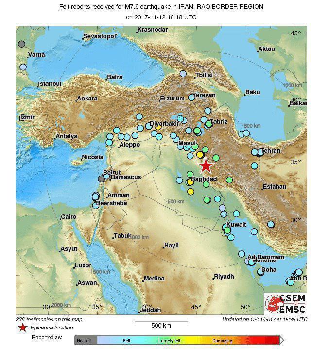 زلزله 7.5 ریشتری در عراق/ مردم تبریز، سنندج و کرمانشاه به خیابانها ریختند