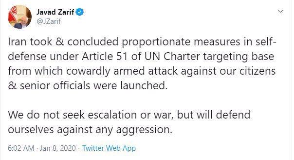 حمله موشکی گسترده سپاه پاسداران به پایگاه نظامی آمریکا در عراق / هر سرزمینی، به هر ترتیب مبدأ اقدامات خصمانه و تجاوزگرانه علیه ایران قرار گیرد، هدف قرار خواهد گرفت / نامه ایران به شورای امنیت سازمان ملل: به دنبال جنگ نیستیم