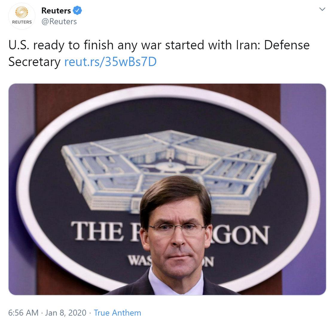 حمله موشکی سپاه پاسداران به پایگاه نظامی آمریکا در عراق / هر سرزمینی مبدأ اقدامات علیه ایران قرار گیرد، هدف قرار خواهد گرفت / نامه ایران به شورای امنیت سازمان ملل: دنبال جنگ نیستیم / استدلال حقوقی ایران برای پاسخ متقابل / ترامپ: همه چیز خوب است!