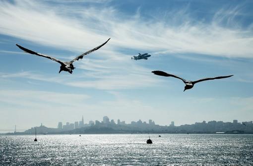 عبور از بالای سان فرانسیسکو برای فرود نهایی در لس آنجلس (Ezra Shaw/Getty Images)