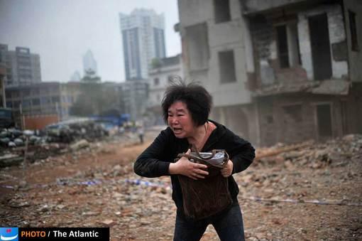 تخریب خانه هایی که در مسیر ساخت یک بزرگراه در گوانگجوی چین قرار داشتند.